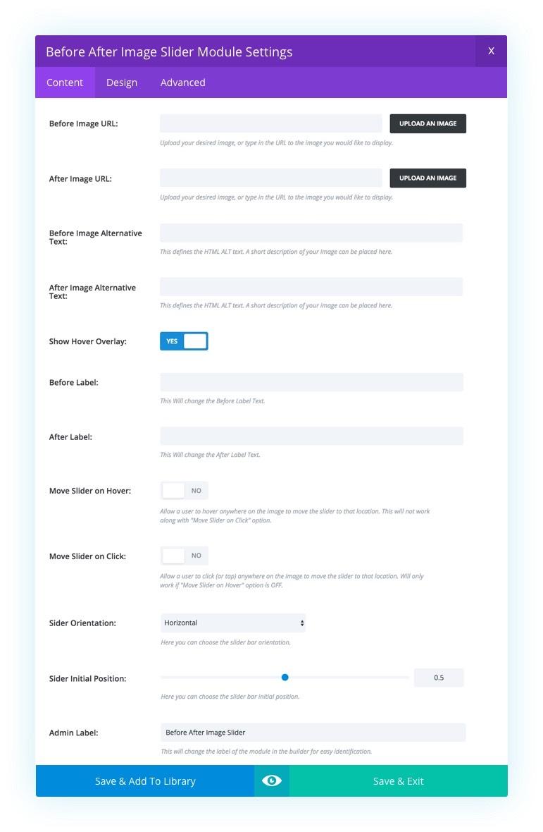 Documentation - Divi Before After Slider Module Demo